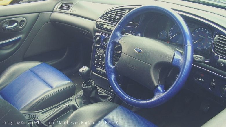 The interior of a Ford Mondeo ST200