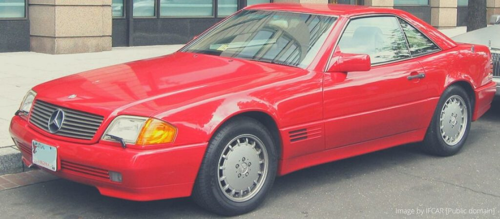 A red Mercedes SL R129
