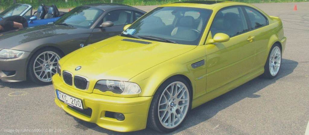 A yellow BMW M3 E46
