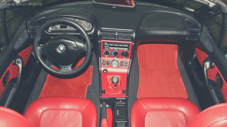 The red interior of a BMW Z3