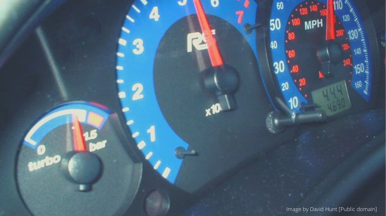 The speedometer and boost gauge of a Ford Focus RS