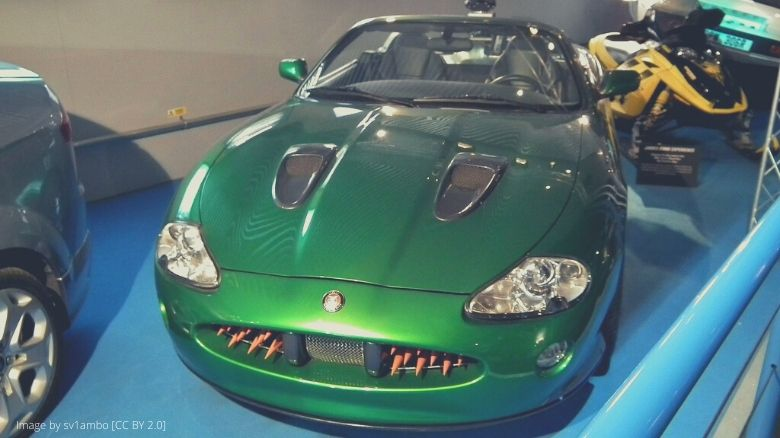 A green Jaguar XK that was used in a James Bond film