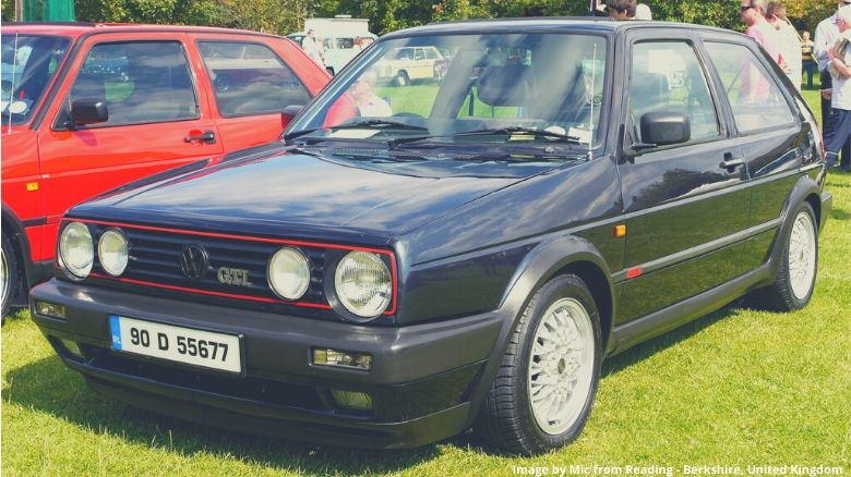 A black VW Golf GTi MkII at a car show