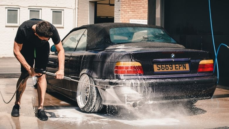 BMW 3 Series convertible being cleaned