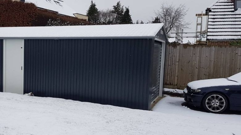 Garage in snowy conditions
