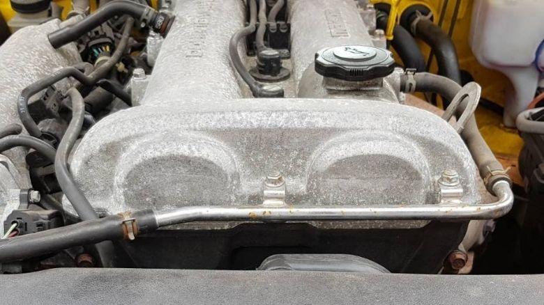 Metal timing belt casing on Mazda MX-5 (Miata)