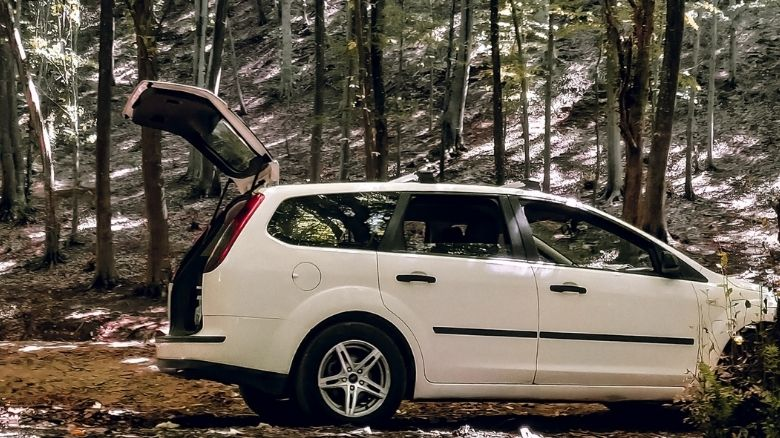 A Ford Focus estate in the woods