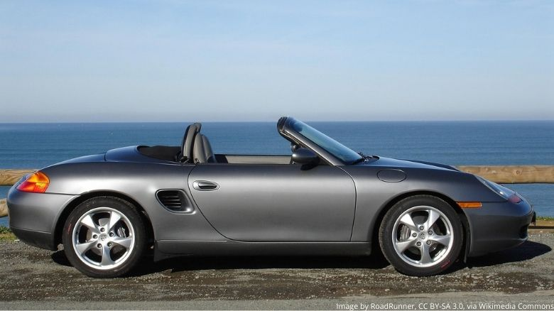 Porsche Boxster with roof down