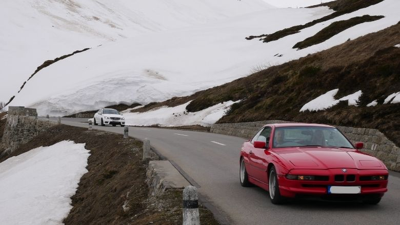 BMW 840 and Mercedes C63 in The Alps