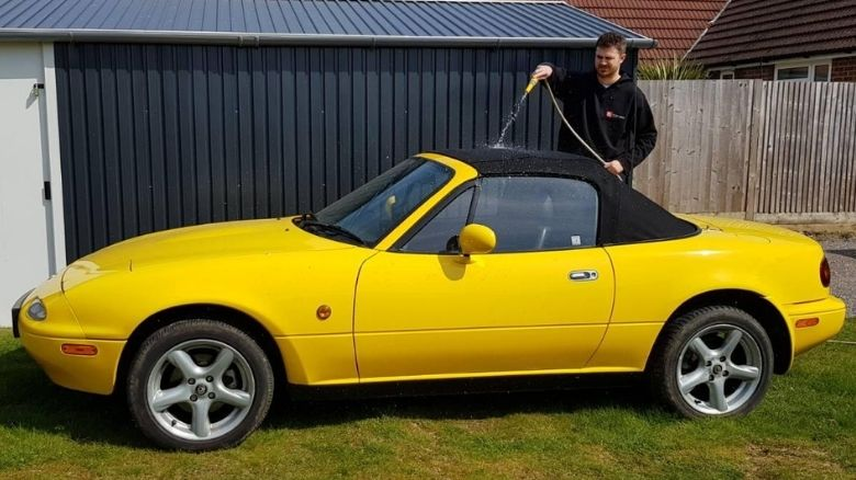 Cleaning a Mazda MX-5