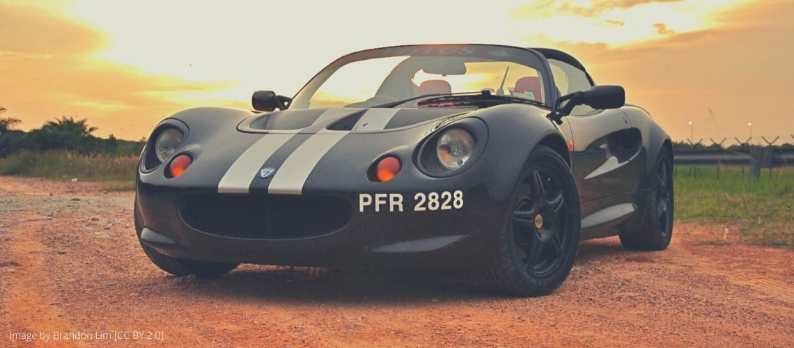 A Lotus Elise with racing stripes